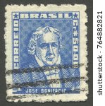 Small photo of Brazil - stamp printed in 1959, Issue Military Officers, Series Famous People Brazil History (Great-Granddaughter), Jose Bonifacio Andrada e Silva 1763-1838