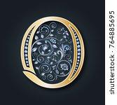 vector letter o. golden... | Shutterstock .eps vector #764885695