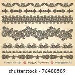 hand draw black flowers...   Shutterstock .eps vector #76488589