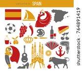 spain travel destination... | Shutterstock .eps vector #764891419