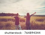 asian romantic couple or... | Shutterstock . vector #764894344