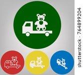 truck with bear. vector. 4... | Shutterstock .eps vector #764899204