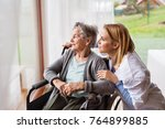 health visitor and a senior... | Shutterstock . vector #764899885