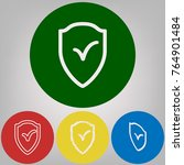 shield sign as protection and... | Shutterstock .eps vector #764901484