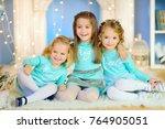 girlfriends sitting on the... | Shutterstock . vector #764905051