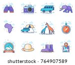safari icons in flat color... | Shutterstock .eps vector #764907589