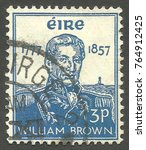 Small photo of Ireland - stamp printed in 1957, Memorable issue, Admirals, Series Death Centenary of Admiral William Brown