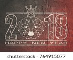 2018 new year number and... | Shutterstock . vector #764915077