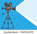 retro cinema video camera with... | Shutterstock .eps vector #764916229