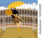 greek mythology amazon warrior... | Shutterstock .eps vector #764916535