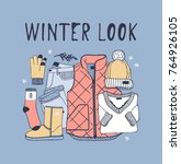 hand drawn fashion illustration.... | Shutterstock .eps vector #764926105