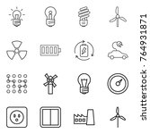 thin line icon set   bulb ... | Shutterstock .eps vector #764931871