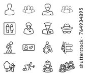 thin line icon set   man  group ...   Shutterstock .eps vector #764934895