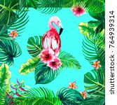 exotic bird flamingo. silk... | Shutterstock . vector #764939314