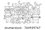 hand drawn cute cats listening... | Shutterstock .eps vector #764939767