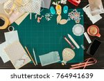 top view of table with elements ... | Shutterstock . vector #764941639