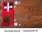 christmas table place setting ... | Shutterstock . vector #764943979