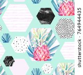abstract summer hexagon shapes... | Shutterstock . vector #764944435
