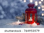 christmas decorated lantern and ... | Shutterstock . vector #764953579