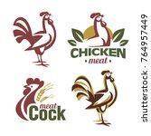 cockerel and chicken logo... | Shutterstock .eps vector #764957449