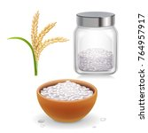 rice ear  bowl  jar with long... | Shutterstock .eps vector #764957917