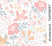 vector floral seamless pattern...   Shutterstock .eps vector #764958097