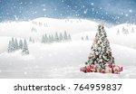 beautiful winter landscape with ... | Shutterstock . vector #764959837