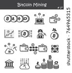 bitcoin mining icon set 1 . | Shutterstock .eps vector #764965315