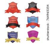 luxury premium golden badge... | Shutterstock .eps vector #764965354