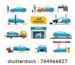 set car wash service  tire... | Shutterstock .eps vector #764966827
