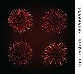beautiful red fireworks set.... | Shutterstock .eps vector #764966914
