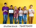 cute teenagers with modern... | Shutterstock . vector #764970499
