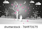 lovers in the background of the ... | Shutterstock .eps vector #764973175