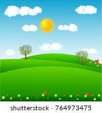 tree in the lawn. cartoon... | Shutterstock .eps vector #764973475