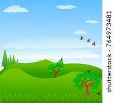 tree in the lawn. cartoon... | Shutterstock .eps vector #764973481
