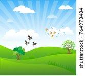 tree in the lawn. cartoon... | Shutterstock .eps vector #764973484