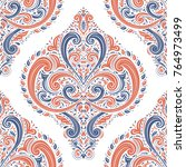 orange and blue floral seamless ... | Shutterstock .eps vector #764973499
