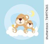 mom and baby bear cartoon... | Shutterstock .eps vector #764974261