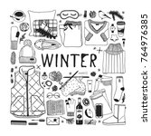 hand drawn fashion illustration.... | Shutterstock .eps vector #764976385