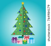 christmas tree with gifts on a...   Shutterstock . vector #764984179