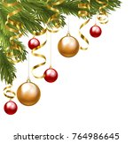 christmas tree corner border... | Shutterstock . vector #764986645