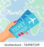 woman hand holding plane... | Shutterstock .eps vector #764987149