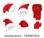christmas santa claus hats set. ... | Shutterstock .eps vector #764987461