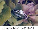 diamon engagement ring on... | Shutterstock . vector #764988511