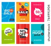 set of sale banner templates.... | Shutterstock . vector #764991904