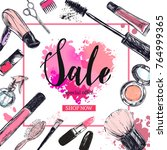 cosmetics and beauty background ... | Shutterstock .eps vector #764999365