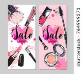 beauty store banner with make... | Shutterstock .eps vector #764999371