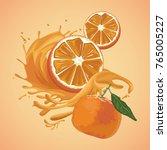orange splash fruit | Shutterstock .eps vector #765005227