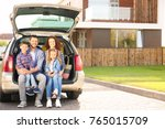 young family with children... | Shutterstock . vector #765015709