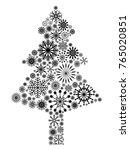 black snowflake christmas tree | Shutterstock .eps vector #765020851